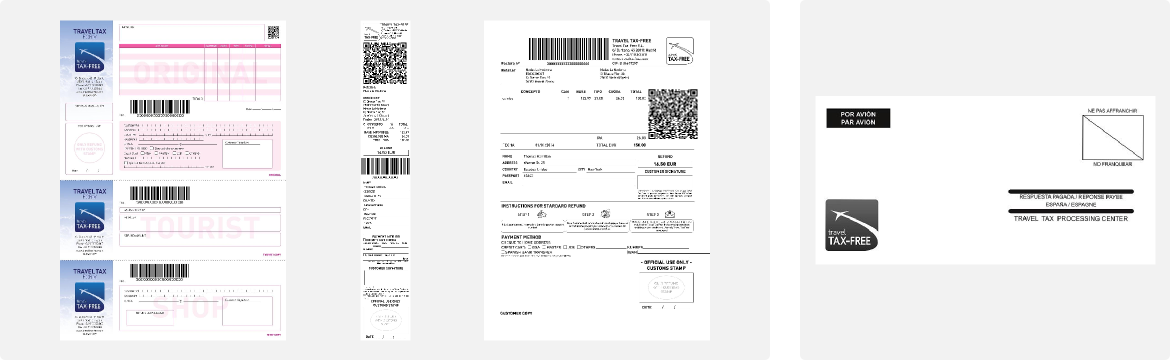 Travel TAX-FREE forms y sobre prepagado